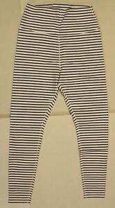 Glyder Women's High Power ll Legging KB8 White/Black Stripe Large NWT