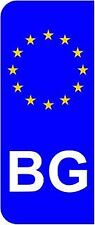 Bulgaria BG EU Euro Flag Car Number Plate Domed Sticker Decal (Pack of 2)