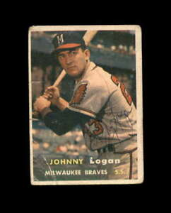 Johnny Logan Hand Signed 1957 Topps Milwaukee Braves Autograph