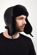 Black Sheared Beaver Fur Ushanka Hat Leather Top Trapper Hat For a Men's