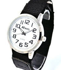 Ravel Mens Black Big Numbers on White Face Watch Easy Fast Fit Black Sport Strap