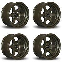 "4 x Rota Grid-V Bronze Alloy Wheels 15x8""|ET0|4x100 PCD|67.1mm Centre Bore"
