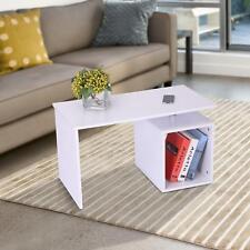 White Coffee Table Side Storage Low Design Magazine Shelf Wood Modern Furniture