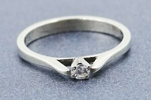 Womens Ring Diamond Solitaire 14ct White Gold Vintage HANDMADE Engagement