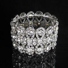 Vintage Bridal Crystal Bracelet Sparkling Diamante Sliver Wedding Bangle Jewelry