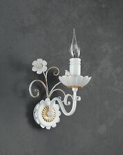Applique in ferro battuto bianco-oro e porcellana 1 luce pre Ap 165/1P