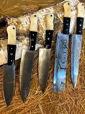 LOUIS MARTIN CUSTOM HANDMADE FIXED BLADE DAMASCUS  LOT OF 5 HUNTING CHEF KNIFE