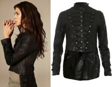 All Saints Karst Military Leather Jacket Tailcoat ASO Kristen Stewart US 4 UK 8