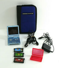 Nintendo Game Boy Advance SP Pearl Blue AGS-101 TESTED w/Chargers games case