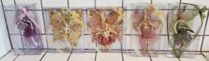 Vintage Katherine's Collection 5 Fairy Butterfly Ornaments in BOXES Glitter
