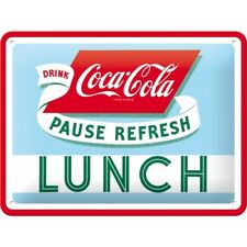 A5 Retro Tin Metal Embossed Sign COCA-COLA 'LUNCH' 15x20cm Licensed Product COKE