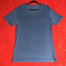 Lululemon Mens Blue Organic Cotton 5 Year V Neck T Shirt SS Top - Size Medium M