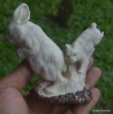 Double Rabbits Carving 96mm Height T139 in Antler Hand Carved