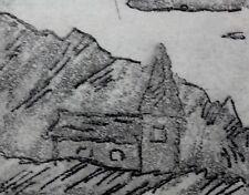 E.S. Monogramm - mini - s/w - Radierung 1981: - Kirche in den Alpen