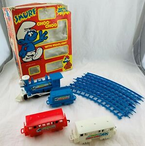 1981 Smurfs Choo Choo Train Working, Complete in Good Condition FREE SHIPPING