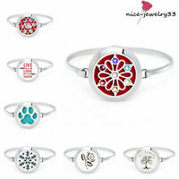 316L Stainless Steel Oil Aromatherapy Diffuser Locket Bangle Bracelet 10 pads