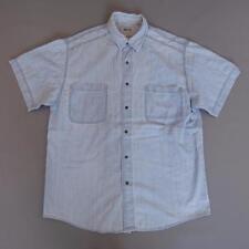 Men's WRANGLER Vintage Blue Chambray Denim Shirt Snap Button Western Large #F876