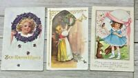 Lot Of 3 Vintage Easter Holiday Greeting Postcards Post Cards
