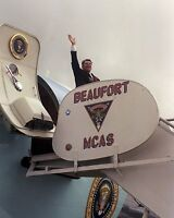 President Ronald Reagan exits Air Force One in MCAS Beaufort SC Photo Print