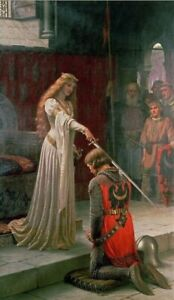"""Famous Painting """"The Accolade"""" By Edmund Blair Leighton Printed On Canvas"""