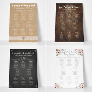 Personalised Wedding Seating Plan Planner Table Plans