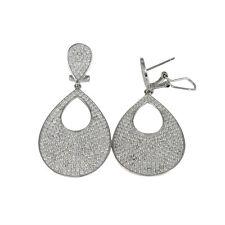 Sterling Silver Pave CZ Cutout Teardrop Dangle Earrings - Reg. $449.99
