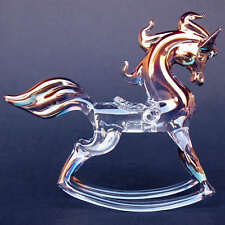 Rocking Horse Figurine of Hand Blown Glass Gold Crystal