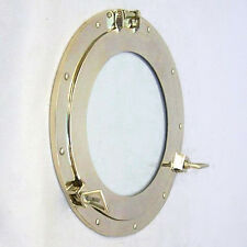 "Ship's Cabin Porthole Window 15"" Solid Brass Round Glass Nautical Wall Decor New"
