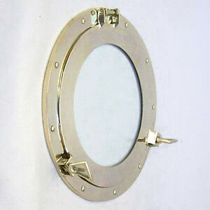 "Ship's Cabin Porthole Window 15"" Solid Brass Round Glass Nautical Wall Decor New"