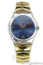 New Swatch Originals EGYPTIA Gold Stretch Day-Date Women Watch 34mm GE706A $70