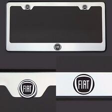 T304 Chrome Polished Fiat Logo Black Laser Etched Engraved License Plate Frame