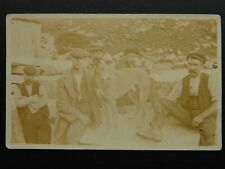 More details for rare cornwall shows five gents & a dog possible miner / mining - old rp postcard