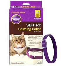 Sentry Calming Collar for Cats, Up to 15-Inch Neck, Includes Three Cat Calming C