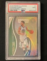 2019-20 Panini Illusions Stephen Curry Astounding Green /5 PSA 9