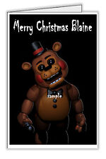 FNAF Five Nights at Freddy's Fazbear Personalised Christmas Card -  Any Name