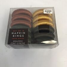 New listing Fall Autumn Harvest Yarn Wrap Napkin Rings Set of 12 Brown Olive Orange Yellow