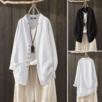 ZANZEA Women Buttons Down Casual Long Shirt Tops Loose Oversize Blouse Plus Size