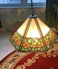 Beautiful Large Hanging Tiffany Style Flower Slag Glass Lamp Light