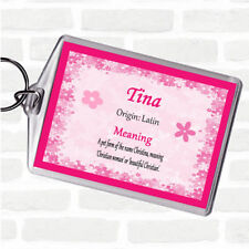 Tina Name Meaning Bag Tag Keychain Keyring  Pink