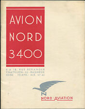 AVION NORD 3400 MANUFACTURERS SALES BROCHURE NORD AVIATION CUTAWAY