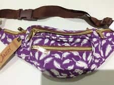 Jazzi London Canvas Bumbag with 5 Zip Compartments - Purple Feather Design BNWT