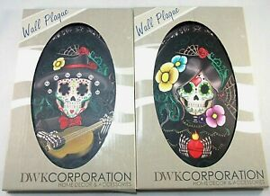 Day of the Dead Wall Plaques Pair Skeleton Lovers Wall Decor art Sugar Skull