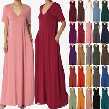 TheMogan S~3X Casual V-Neck Short Sleeve Pocket Maxi Dress W Comfy Jersey Knit