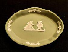 "Wedgewood Jasperware made in England Green & White dish~ 4 3/8"" long x 3 1/8"" wi"
