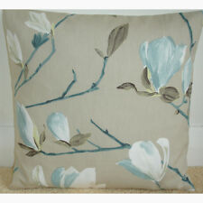"""16"""" Cushion Cover Duck Egg Blue Ivory Magnolia Branches Taupe Beige Trees"""