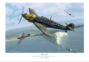 BATTLE OF BRITAIN FIGHTER ACE  WICK BF109E JG2 LIMITED EDITION SIGNED PRINT