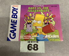 Nintendo Game Boy The Simpsons Bart Vs The Juggernauts Instruction Booklet