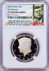 2020 S First 999 Fine Silver Kennedy Half Dollar NGC PF70 FR coin Ask Not Label