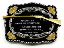 Gun Belt Buckle .44 Caliber Rifle American Western Themed Authentic White Wolf
