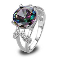 Size 6-13 Fashion Round Cut Women Men Rainbow & White Topaz Gemstone Silver Ring